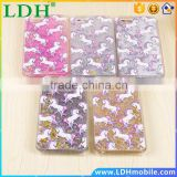 Cartoon Unicorn Horse Dynamic Paillette Glitter Stars Water Liquid case for iPhone 5 5s SE 6 6s 4.7/6 plus 5.5 plastic Covers