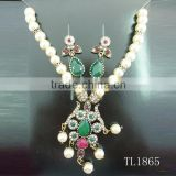 Wholesale pearl necklace set arab gold jewelry imitation bridal indian necklace