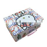 Lovely Kitty preniunm hinged tin lunch box plain with handle