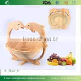 BK023/Dolphin kitchen bamboo fruit basket foldable bicycle shopping fruit basket wholesale willow basket from factory