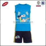 100%cotton sport children clothing set of sleeveless t shirt with pants for boys