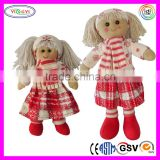 B123 Soft Baby Gifts Girl Rag Doll Stuffed Christmas Baby Doll Costume with Headband Scarves