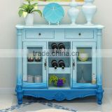 Mediterranean Style Sideboard, Sailing Boat Handpainting Dining Room Cupboard, Wooden Double Door Kitchen Cabinet (BF01-X1150)