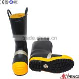 Black fire fighting fire retardant boots with steel toe