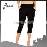Ladies fitness fabric cotton women ruffle capris ruffle pants for lady
