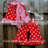 High Quality 2 Pieces Baby Girl Clothes Polka Dots Red Sleeveless Top Ruffle Pants Set Casual Outfit