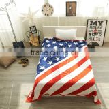 100% Cotton Custom Super soft cashmere leisure air conditioning blanket with national flag wholesale USA/UK Style Beach Towel