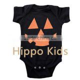 Wholesale orange glitter pumpkin face onesie baby girl clothes halloween baby romper