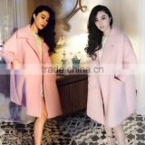 Woollen coat Supper start lovely style pink woollen coat factory price