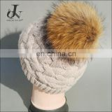 China Supplier Raccoon Fur Pompoms Fleeces Caps Knitted Hats