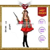 Good quality Red Color Black Pirate Lady Cosplay Halloween Costumes for Adults LLW-007