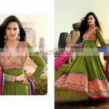 Green New Designer Traditional Beautiful Party Wear Salwar Kameez Women's Party Long Anarkali Dress 7007