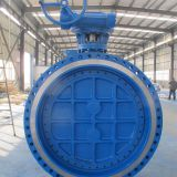 DN1000 PN16 A216 WCB triple offset butterfly valve with manual gearbox.