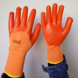 wool line knitted wrinkled pvc palm coated safety work gloves