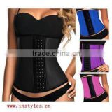 Latex corset shaper vest Women sexy slimming underbust fat burning corset vest waist trainer 9 steel bones