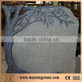 China Black Granite Tree Carving Headstones,Cemetery Engraved Tombstones