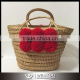 Wholesale Weave Natural Pom Pom Straw Basket                                                                         Quality Choice