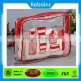 Reboinc-X7 Printed Clear pvc cosmetic bag for travel set Piping pvc vinyl cosmetic bag travel kit