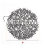 316L Grade Cast Iron Cleaner XL 7x7 Inch Stainless Steel Chainmail Scrubber