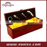 Voniss Wine Set in Wooden Box, 4 Piece Accessory Tool Set Included with Room to Insert Bottle of Wine single wine wooden box