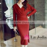 Long sleeve one-piece dress sexy side split bowknot on the back elegant maxi long sleeve with V-neck Red wedding grown
