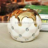 novel design ceramic candle holder with acrylic design,ceramic tealight holder with golden colour
