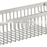 Stainless steel rectangular shower shelf , kitchen basket shelf with hook , net shelf with hook