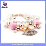 New exclusive lip charm bracelet bling crystal 18k gold plated pearl flower bracelet ( YWH5056-1)