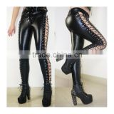 Woman Black Side Lace Up Faux Leather Gothic Punk Pants Wetlook Bandage Leggings