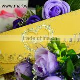 2015 heart shape handmade royal luxurious invitation card for engagement and wedding, OEM greeting card designs (MWC-026)