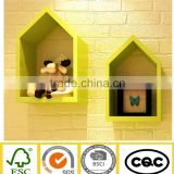 wooden decorative house shaped wall cube shelf FY14047 made of Feng yu                                                                         Quality Choice