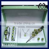 silver plating watch set enamel jewelry set with watch bracelet necklace earrring hairpin