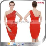 2015 High Quality One Shoulder Beaded Sexy Red Club Dress for Women