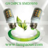 12V 380LM Epistar chips 24PCS SMD5050 warm white/cool white Factory price/CE&RoHS/High quality/3years warranty led g9 3w