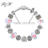 Silver Heart Charm Bracelet & Bangle With Exquisite Glass Beads Jewelry Wholesale