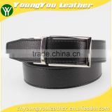 Fashion reversible Microfiber leather PU leather belt for man suit with smooth silver removable alloy part