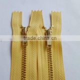 3# metal brass zipper 45YG YKK teeth zipper close end zipper gold teeth zipper auto locking zipper cate zipper
