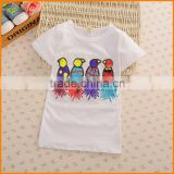 South Korea's Korean cotton short sleeved T-shirt casual summer new girls cartoon bird sequined top