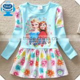 (Q913) two color flags branded 18m-6y children clothes kids dresses frozen elsa frocks new designs girl dress for kids frocks
