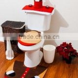 Christmas Bathroom Toilet Cover and Rug Set - Santa Reindeer for christmas decoration use