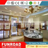 Luxury modern design 2015 glass display showcase plywood baking paint body jewelry display showcases with lights for sale