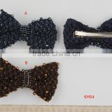 Bow hair Barrette with glass beads hair clip