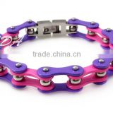 Fashion hip hop bracelet jewelry funky women's 316l stainless steel purple biker chain bracelet