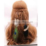 Women Girl Indian Vintage Boho Gorgeous Peacock Feathers Hair Band Suede Braided Headband