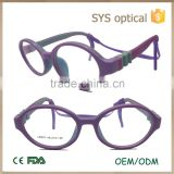 New trend purple color round shape optical frame for baby with replaceable bracer and temple baby glasses frame