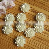high polishing full colors Lotus flower shape glue on plastic pearl beads for jewelry