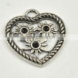 35*34mm Vintage Antique Silver twist three sunflower diamond bezel setting Necklace Pendant wholesale jewelry Accessories