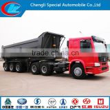 HOT Sell African use Front lifting U shape 3 axle 6 tipper trailer mining use 8 wheels dumper trailer 45cbm van trailer