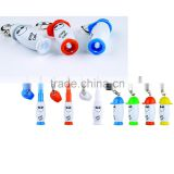 Special designed retractable LED light extension-type smile face hat multi-function ball point pen with carabiner