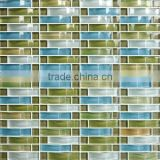 cheap blue mixed green crystal arch glass mosaic tile for home interior decoration /wallpapers(PMGIL051)
